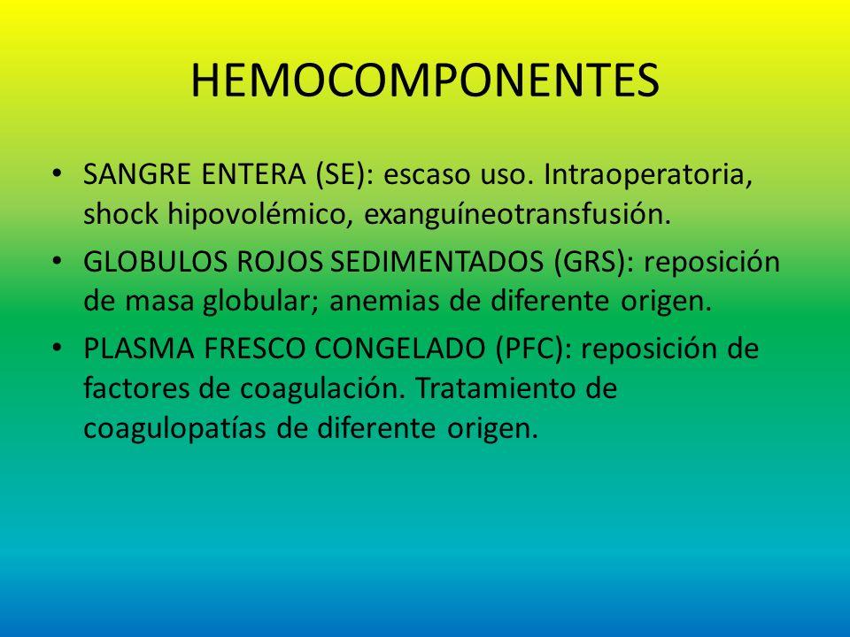 HEMOCOMPONENTES SANGRE ENTERA (SE): escaso uso. Intraoperatoria, shock hipovolémico, exanguíneotransfusión.