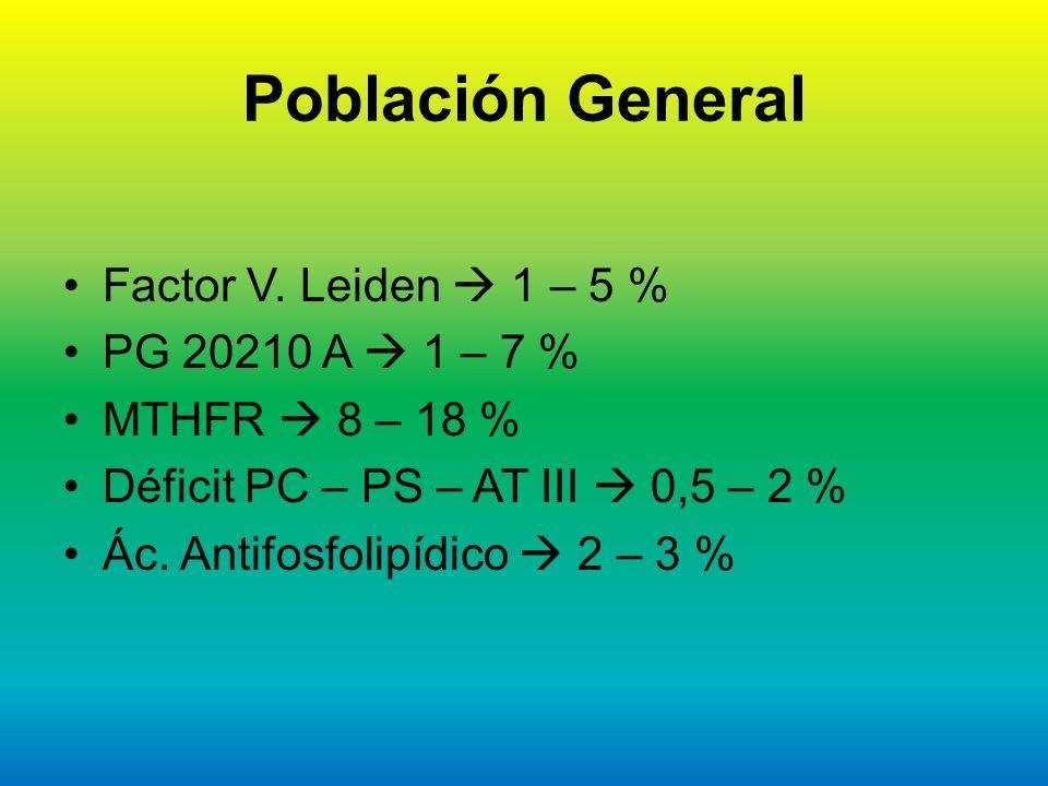 Población General Factor V. Leiden  1 – 5 % PG 20210 A  1 – 7 %
