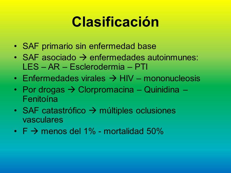 Clasificación SAF primario sin enfermedad base