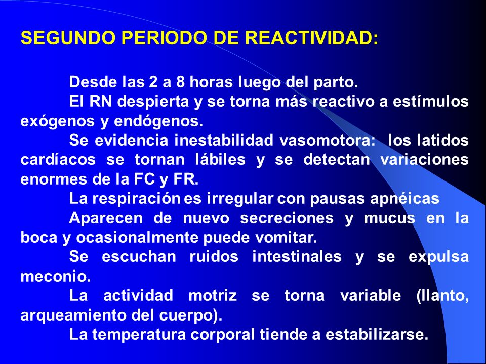 SEGUNDO PERIODO DE REACTIVIDAD: