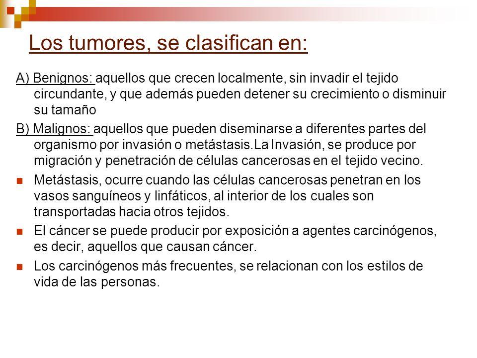 Los tumores, se clasifican en: