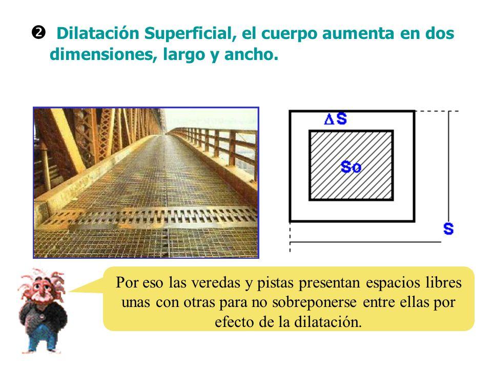  Dilatación Superficial, el cuerpo aumenta en dos dimensiones, largo y ancho.