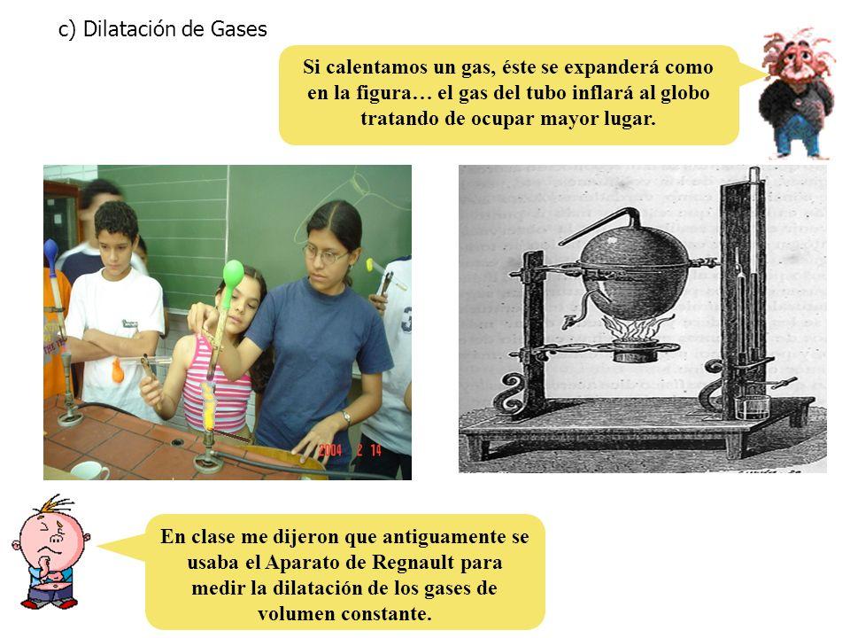 c) Dilatación de Gases Si calentamos un gas, éste se expanderá como en la figura… el gas del tubo inflará al globo tratando de ocupar mayor lugar.