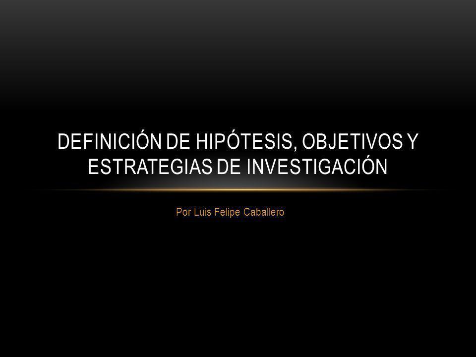 Definición de Hipótesis, Objetivos y Estrategias de Investigación
