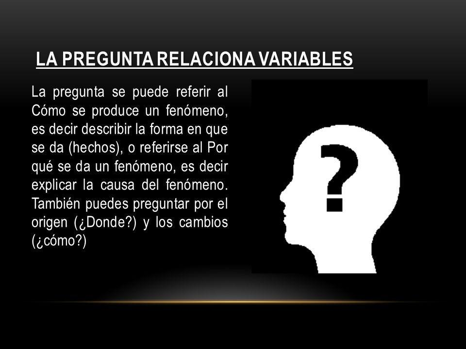 La pregunta relaciona variables