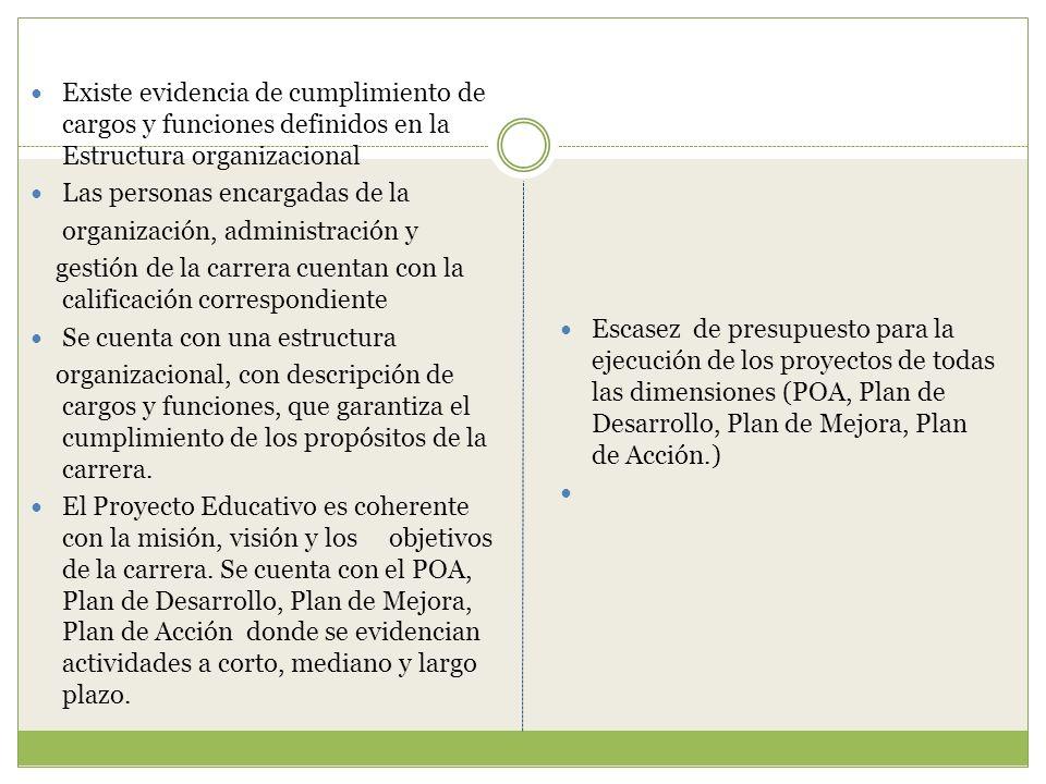 Existe evidencia de cumplimiento de cargos y funciones definidos en la Estructura organizacional