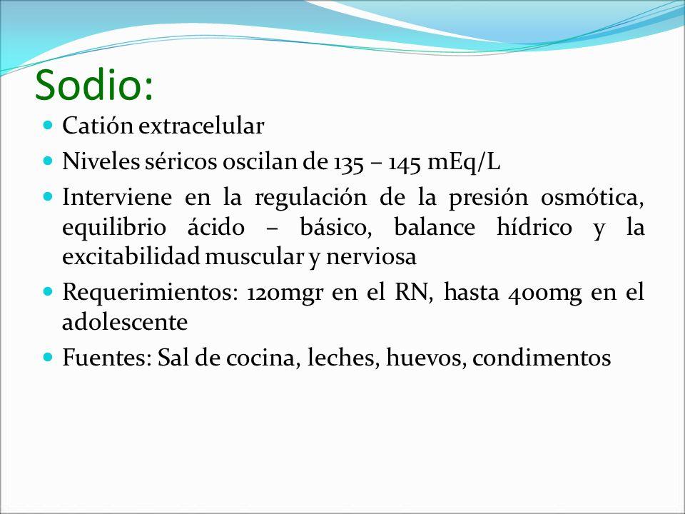 Sodio: Catión extracelular Niveles séricos oscilan de 135 – 145 mEq/L