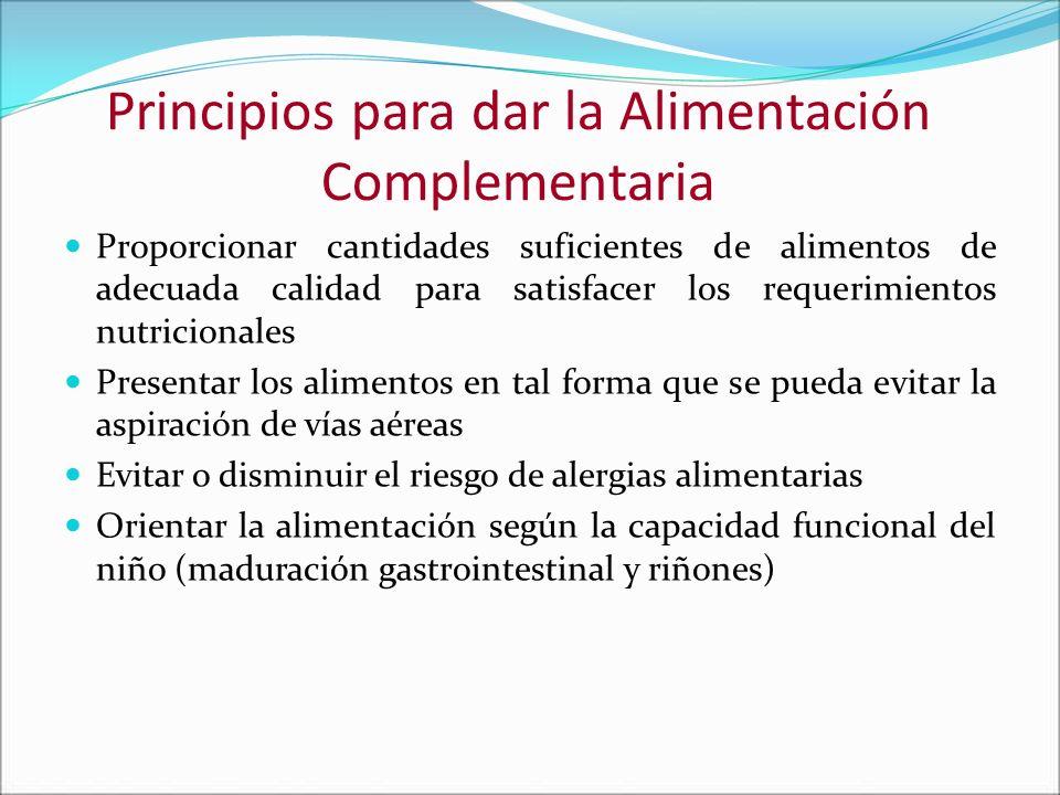 Principios para dar la Alimentación Complementaria