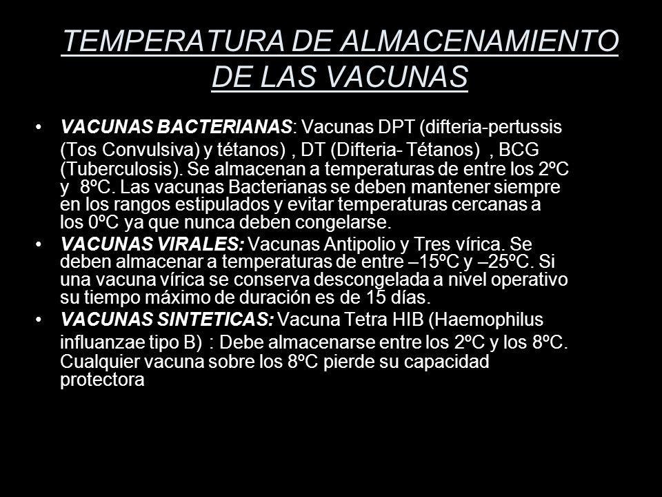 TEMPERATURA DE ALMACENAMIENTO DE LAS VACUNAS