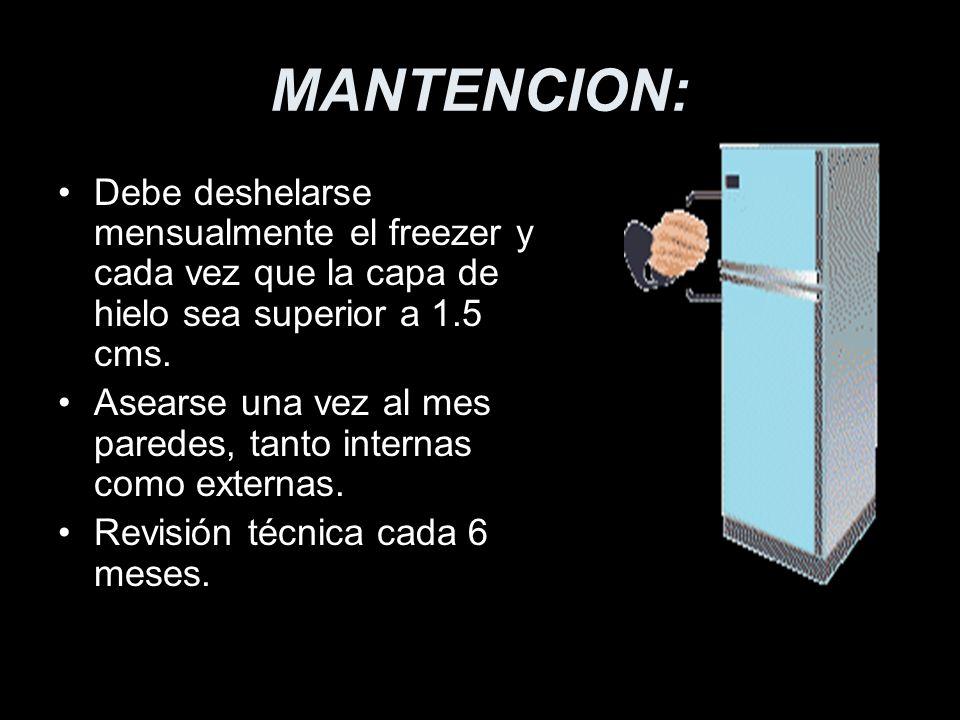 MANTENCION:Debe deshelarse mensualmente el freezer y cada vez que la capa de hielo sea superior a 1.5 cms.