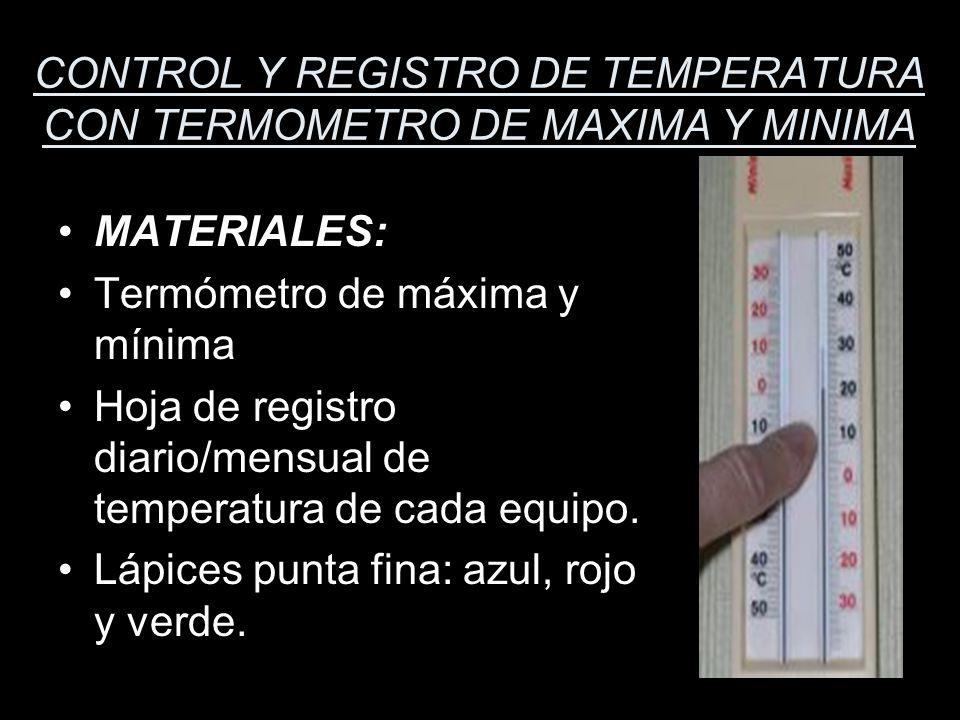 CONTROL Y REGISTRO DE TEMPERATURA CON TERMOMETRO DE MAXIMA Y MINIMA