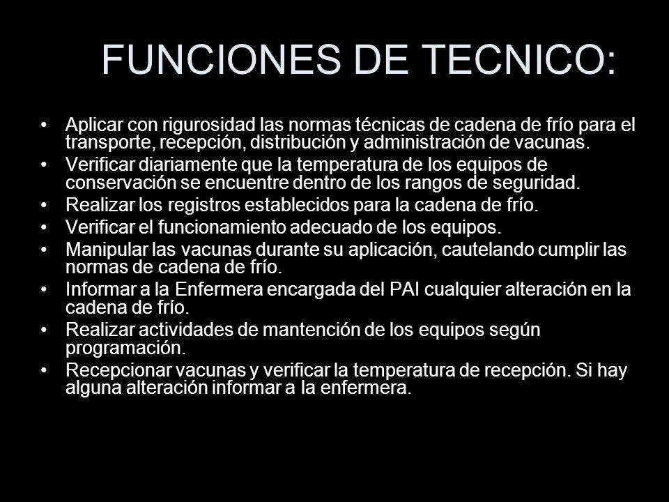 FUNCIONES DE TECNICO: