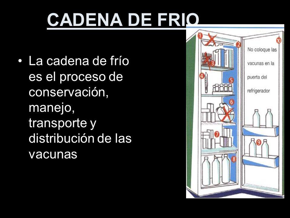 CADENA DE FRIO La cadena de frío es el proceso de conservación, manejo, transporte y distribución de las vacunas.