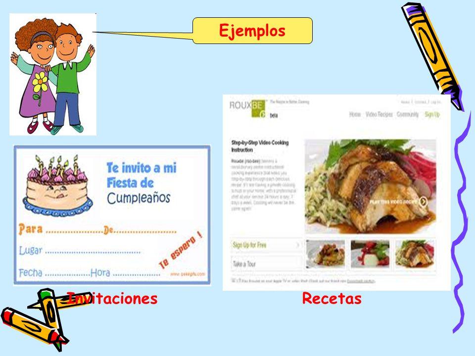 Ejemplos Invitaciones Recetas