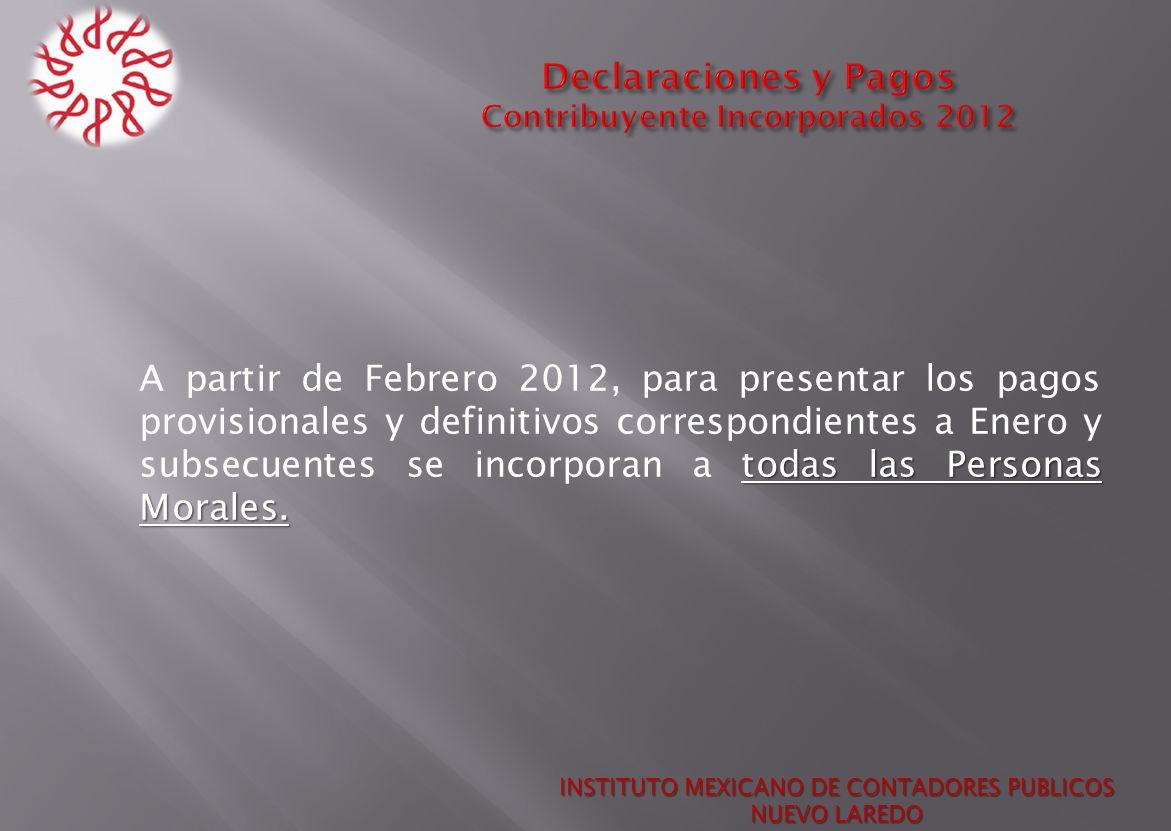Declaraciones y Pagos Contribuyente Incorporados 2012