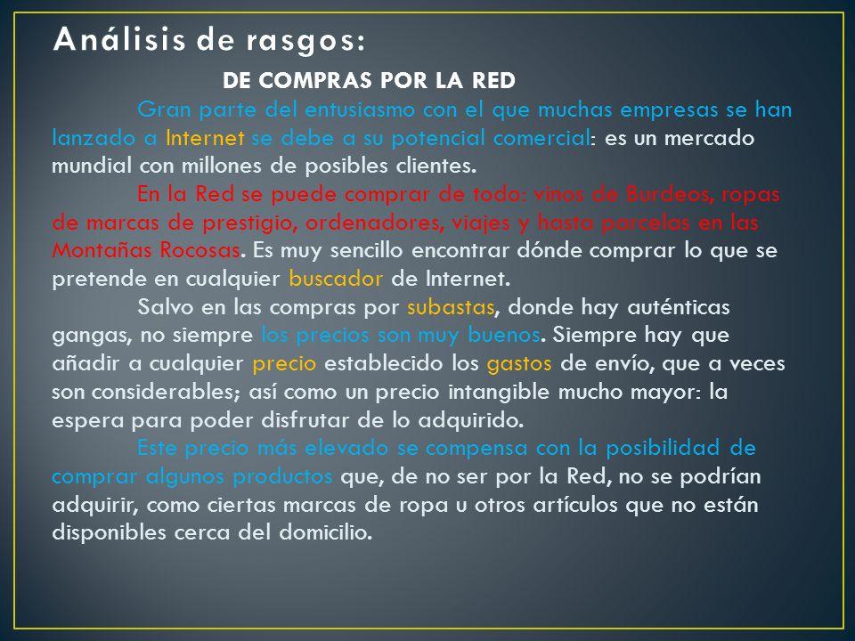 Análisis de rasgos: DE COMPRAS POR LA RED