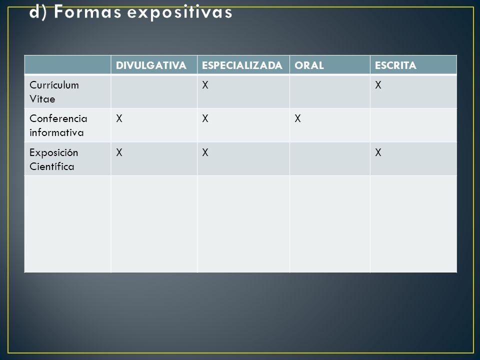 d) Formas expositivas DIVULGATIVA ESPECIALIZADA ORAL ESCRITA