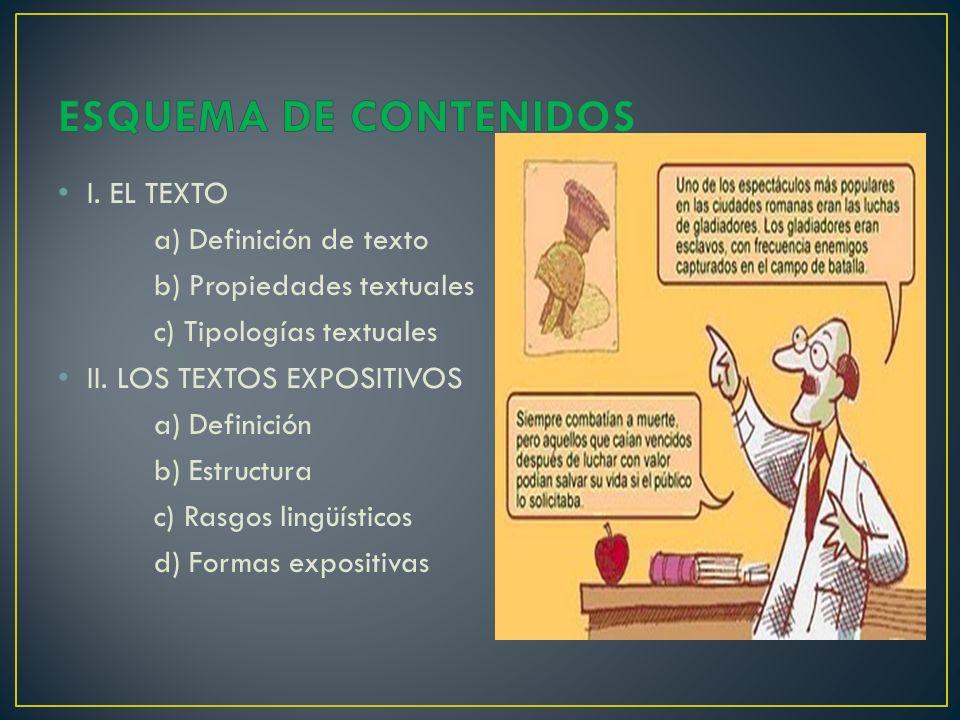 ESQUEMA DE CONTENIDOS I. EL TEXTO a) Definición de texto