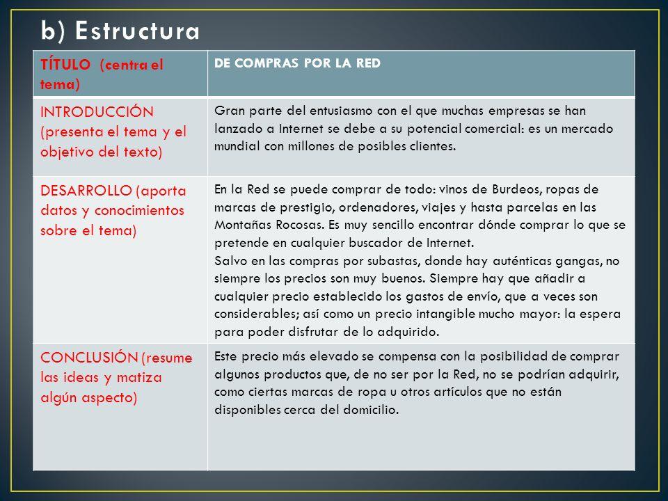 b) Estructura TÍTULO (centra el tema)