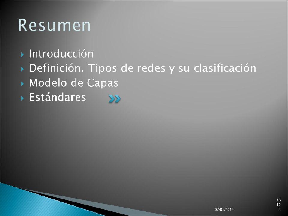 Resumen Introducción Definición. Tipos de redes y su clasificación