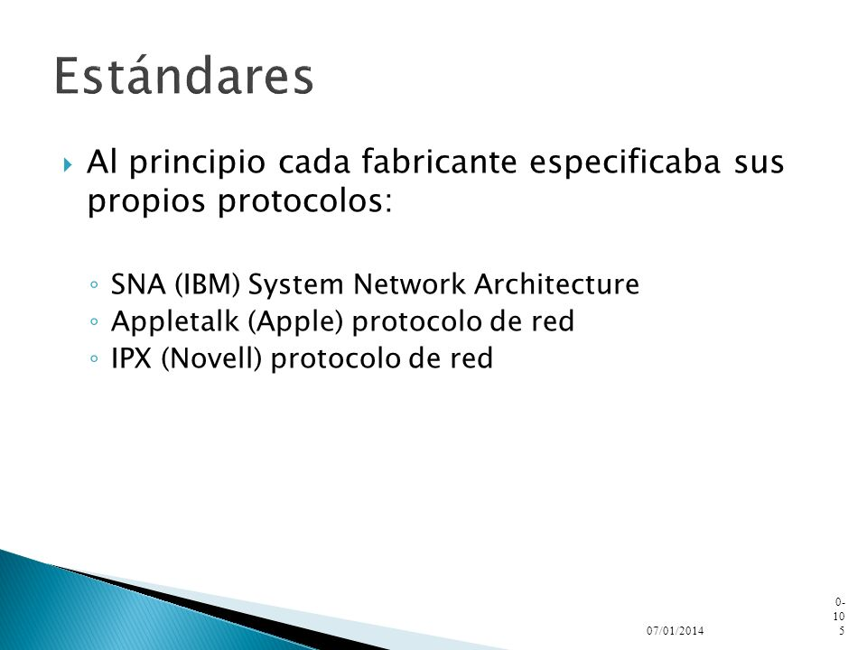 Estándares Al principio cada fabricante especificaba sus propios protocolos: SNA (IBM) System Network Architecture.