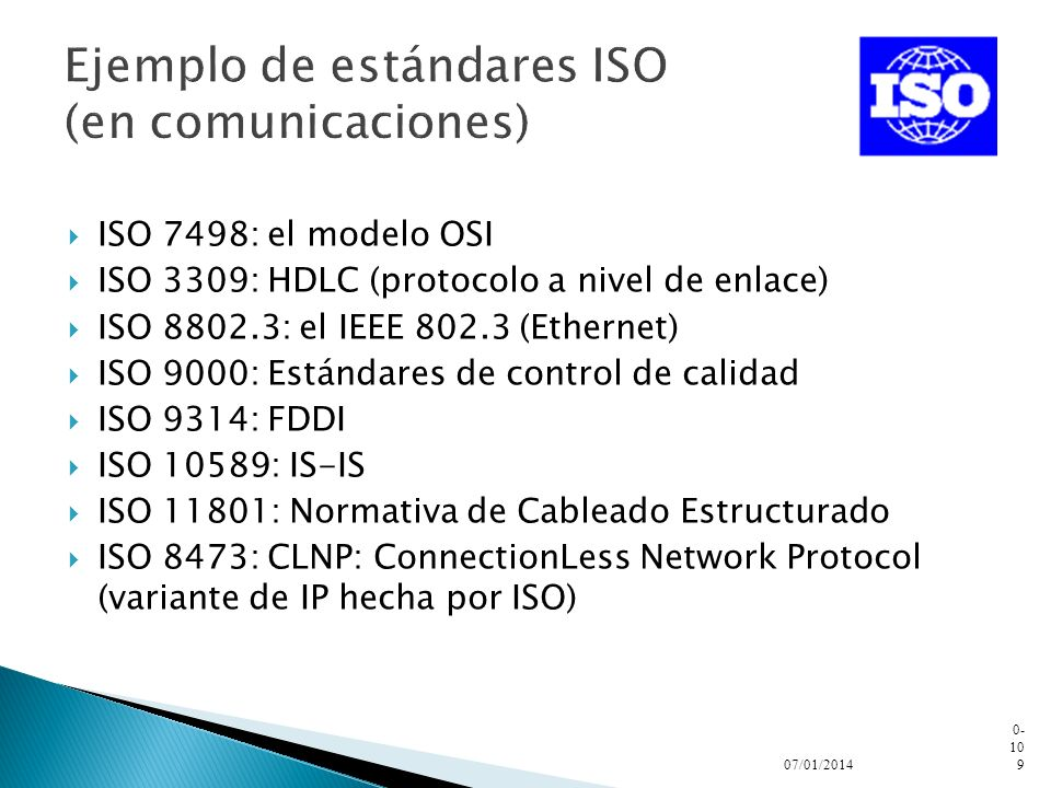 Ejemplo de estándares ISO (en comunicaciones)