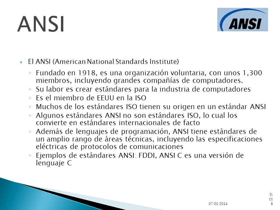 ANSI El ANSI (American National Standards Institute)