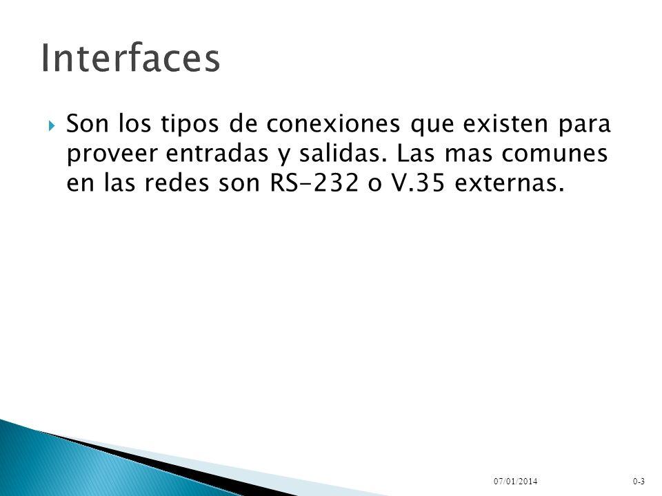 InterfacesSon los tipos de conexiones que existen para proveer entradas y salidas. Las mas comunes en las redes son RS-232 o V.35 externas.