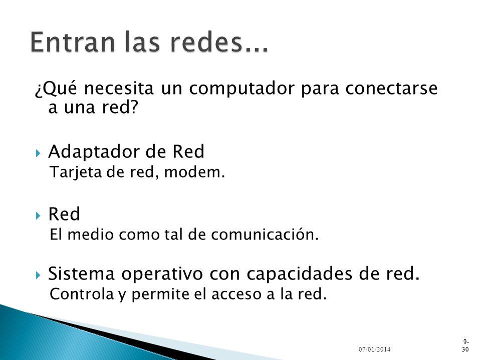 Entran las redes... ¿Qué necesita un computador para conectarse a una red Adaptador de Red. Tarjeta de red, modem.