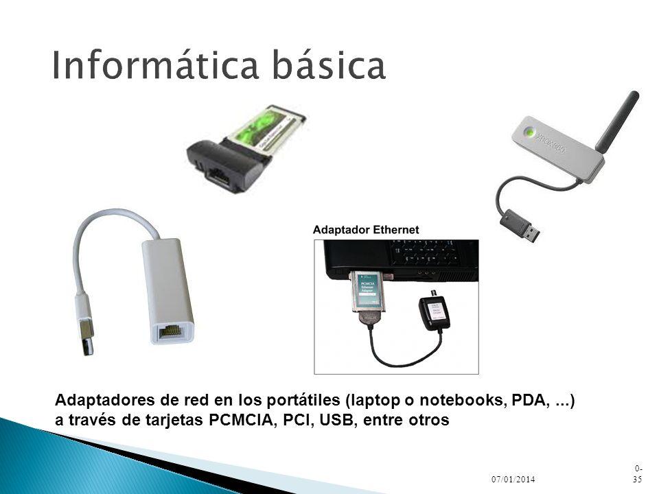 Informática básica Adaptadores de red en los portátiles (laptop o notebooks, PDA, ...) a través de tarjetas PCMCIA, PCI, USB, entre otros.