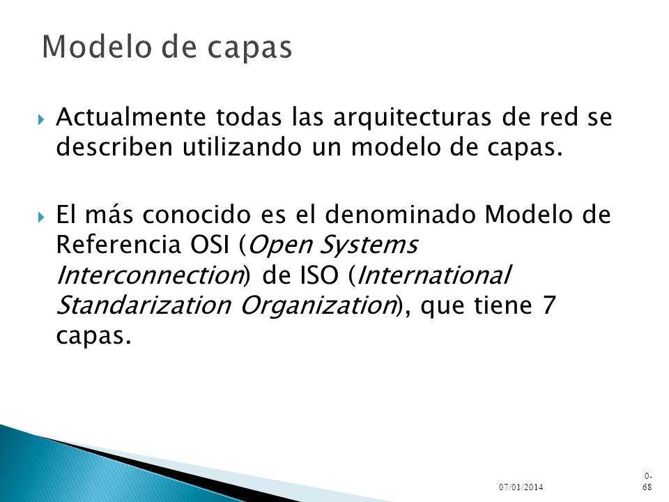Modelo de capasActualmente todas las arquitecturas de red se describen utilizando un modelo de capas.