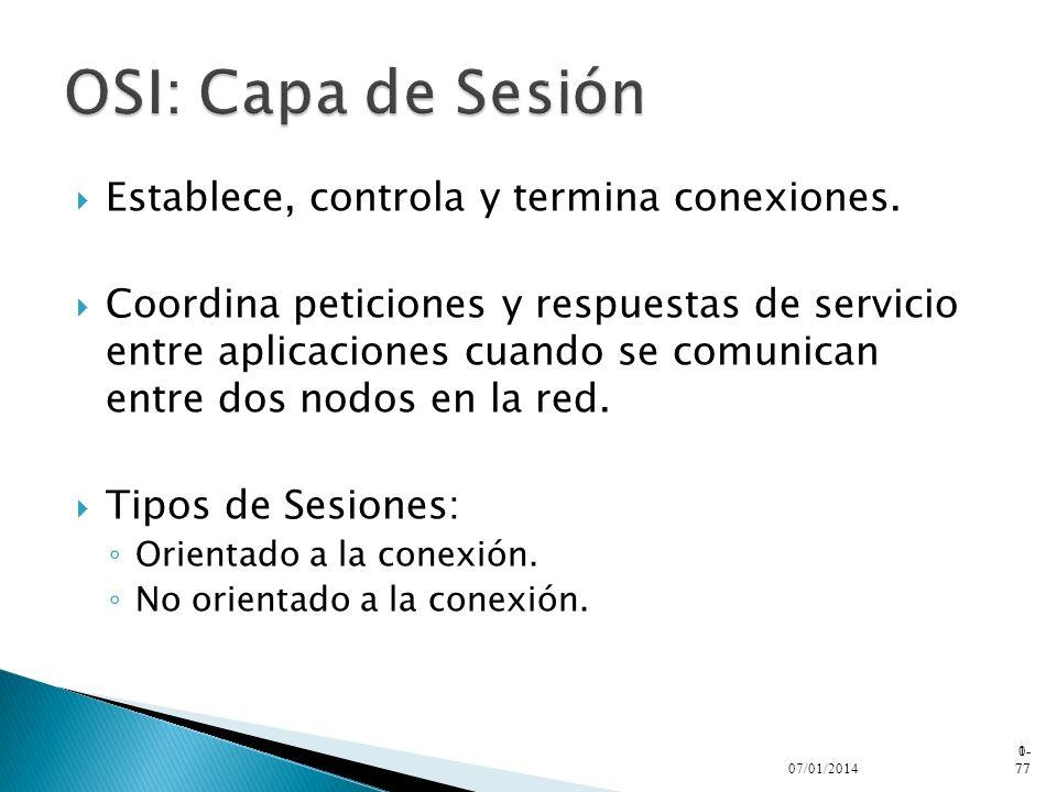 OSI: Capa de Sesión Establece, controla y termina conexiones.