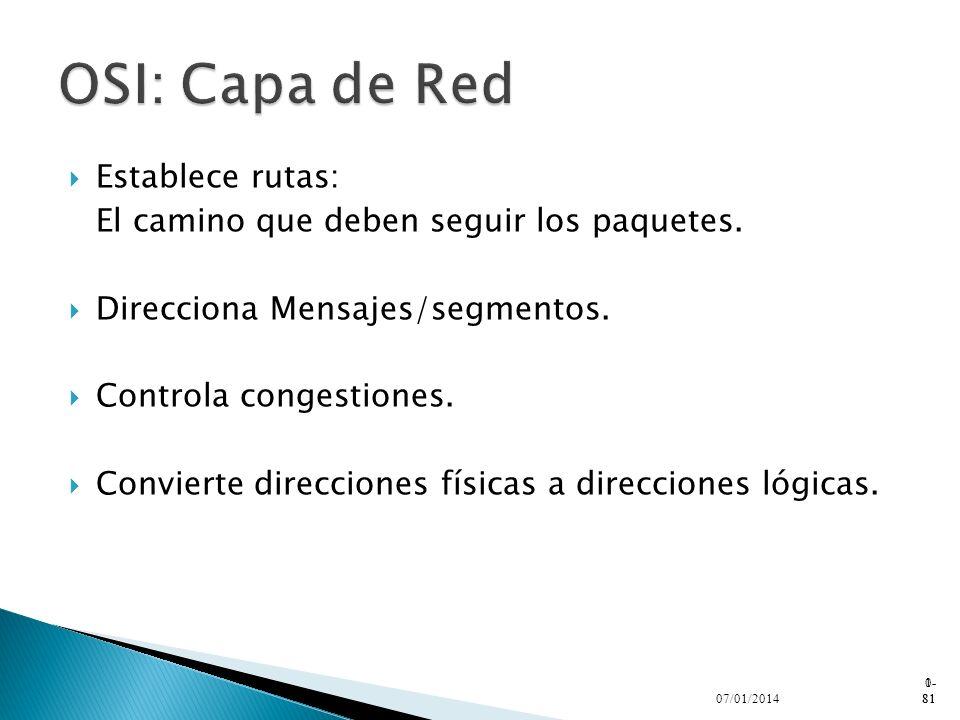 OSI: Capa de Red Establece rutas: