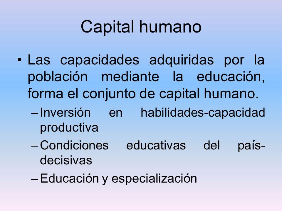 Capital humano Las capacidades adquiridas por la población mediante la educación, forma el conjunto de capital humano.