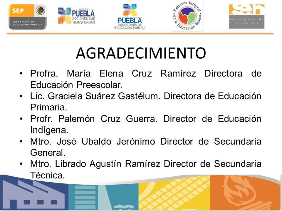 AGRADECIMIENTO Profra. María Elena Cruz Ramírez Directora de Educación Preescolar. Lic. Graciela Suárez Gastélum. Directora de Educación Primaria.