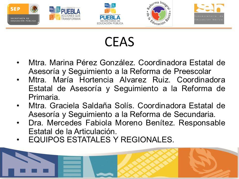 CEAS Mtra. Marina Pérez González. Coordinadora Estatal de Asesoría y Seguimiento a la Reforma de Preescolar.