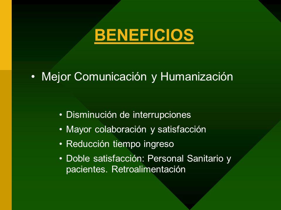 BENEFICIOS Mejor Comunicación y Humanización