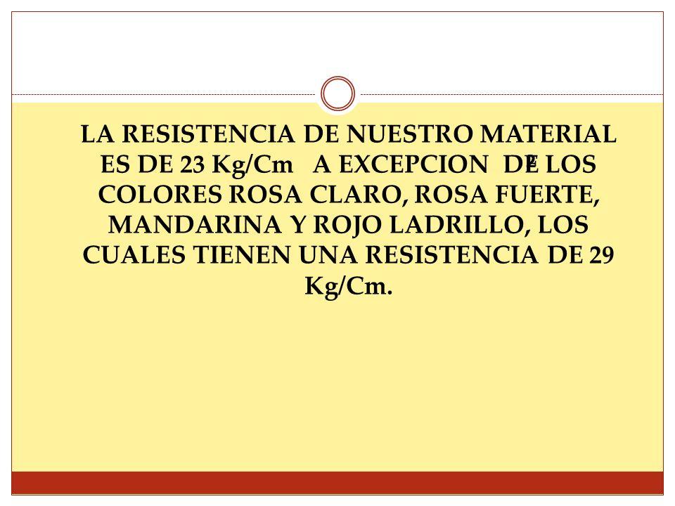 LA RESISTENCIA DE NUESTRO MATERIAL ES DE 23 Kg/Cm A EXCEPCION DE LOS COLORES ROSA CLARO, ROSA FUERTE, MANDARINA Y ROJO LADRILLO, LOS CUALES TIENEN UNA RESISTENCIA DE 29 Kg/Cm.