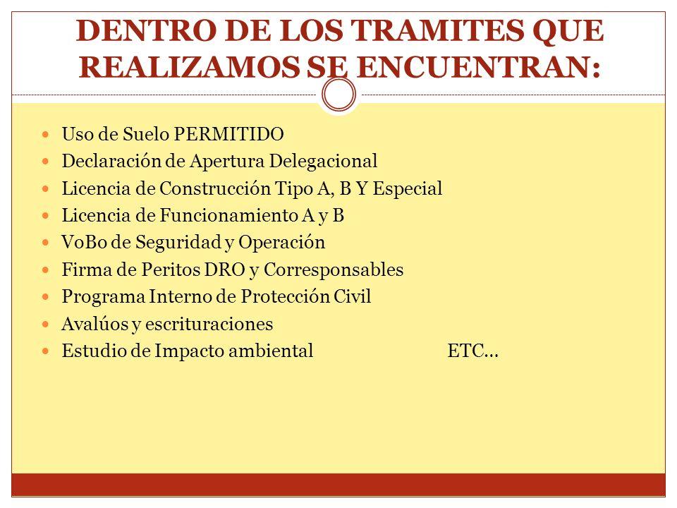 DENTRO DE LOS TRAMITES QUE REALIZAMOS SE ENCUENTRAN: