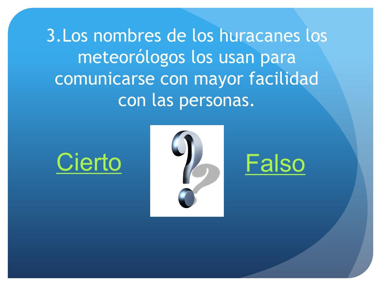 3.Los nombres de los huracanes los meteorólogos los usan para comunicarse con mayor facilidad con las personas.