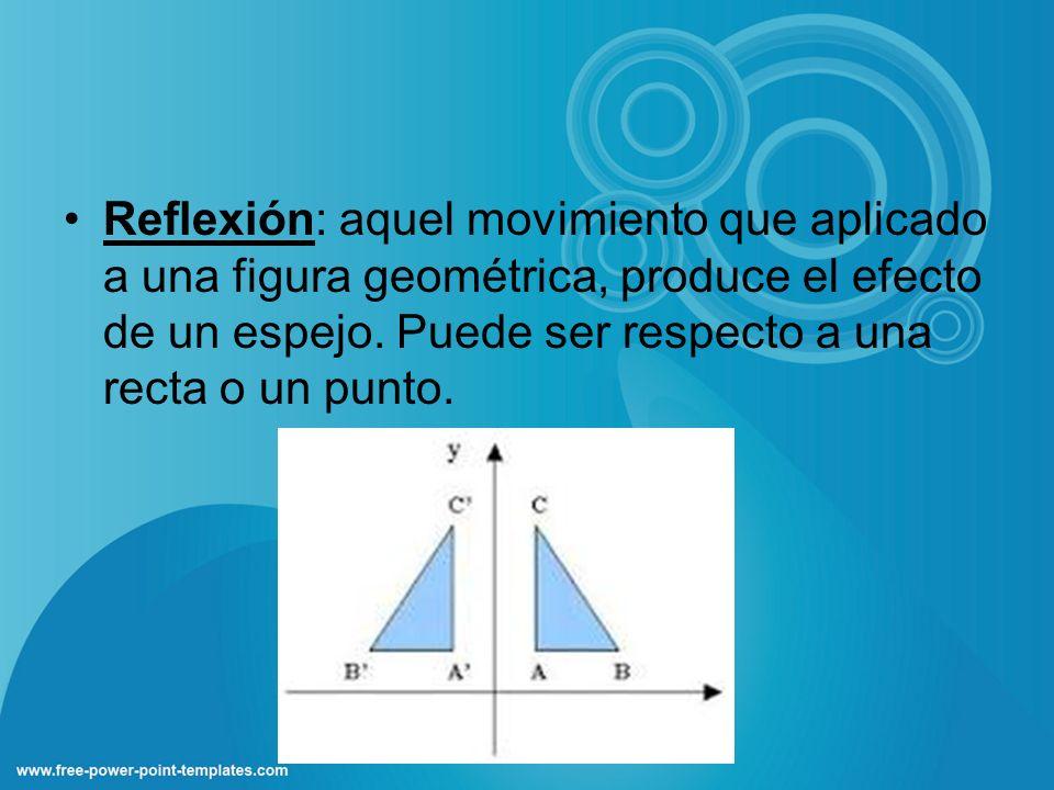Reflexión: aquel movimiento que aplicado a una figura geométrica, produce el efecto de un espejo.