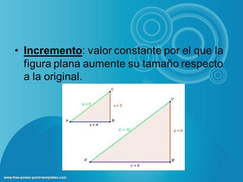 Incremento: valor constante por el que la figura plana aumente su tamaño respecto a la original.