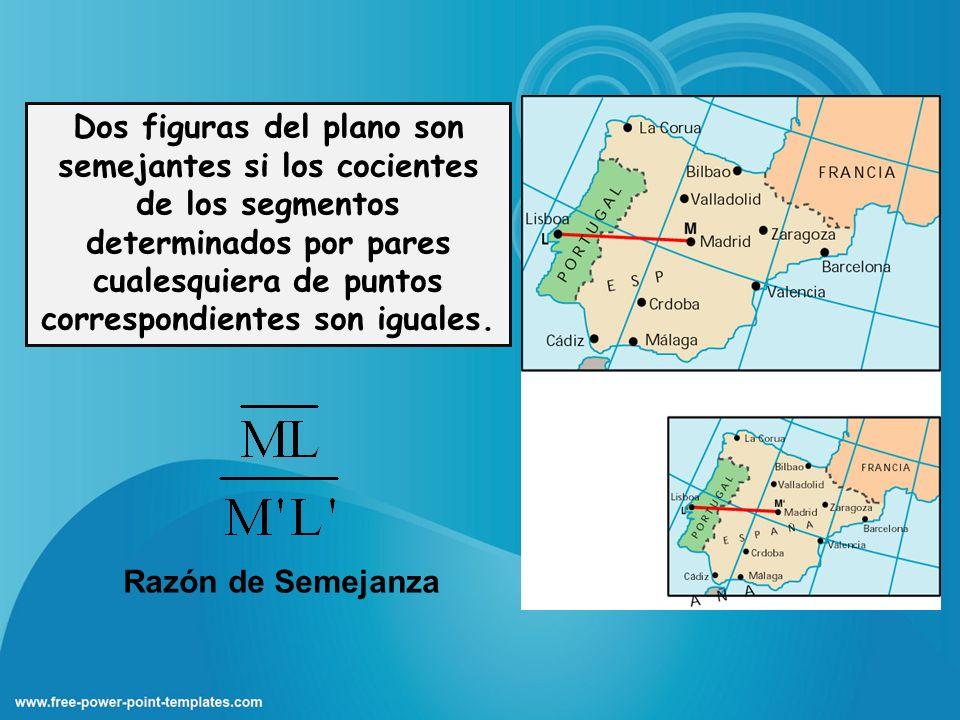 Dos figuras del plano son semejantes si los cocientes de los segmentos determinados por pares cualesquiera de puntos correspondientes son iguales.