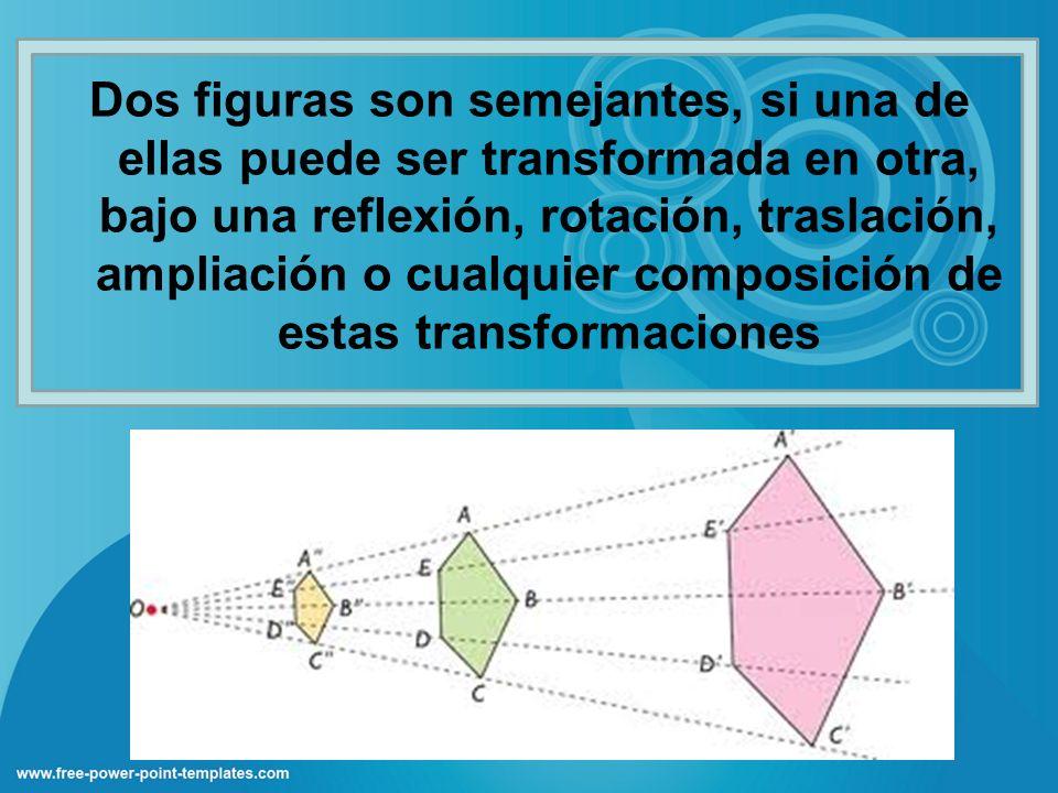Dos figuras son semejantes, si una de ellas puede ser transformada en otra, bajo una reflexión, rotación, traslación, ampliación o cualquier composición de estas transformaciones