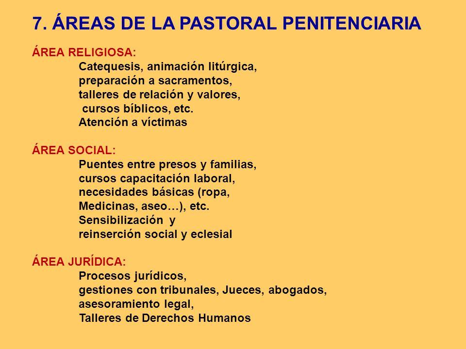 7. ÁREAS DE LA PASTORAL PENITENCIARIA