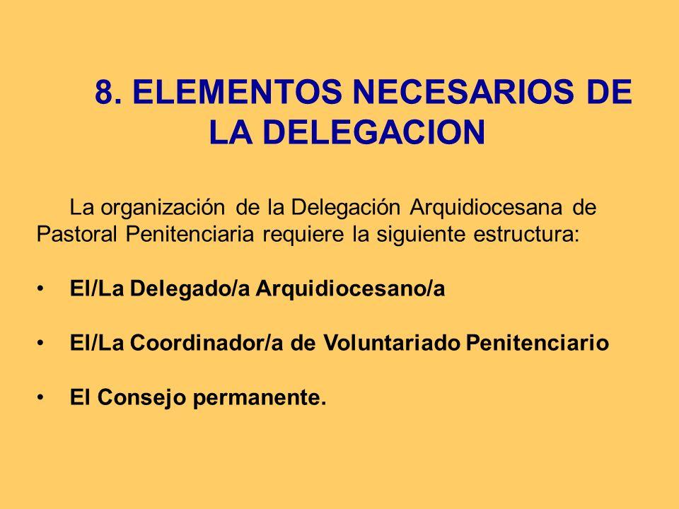 8. ELEMENTOS NECESARIOS DE LA DELEGACION