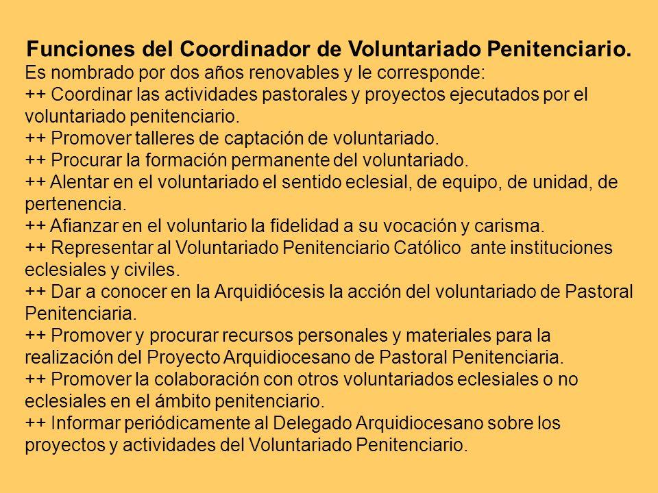 Funciones del Coordinador de Voluntariado Penitenciario.