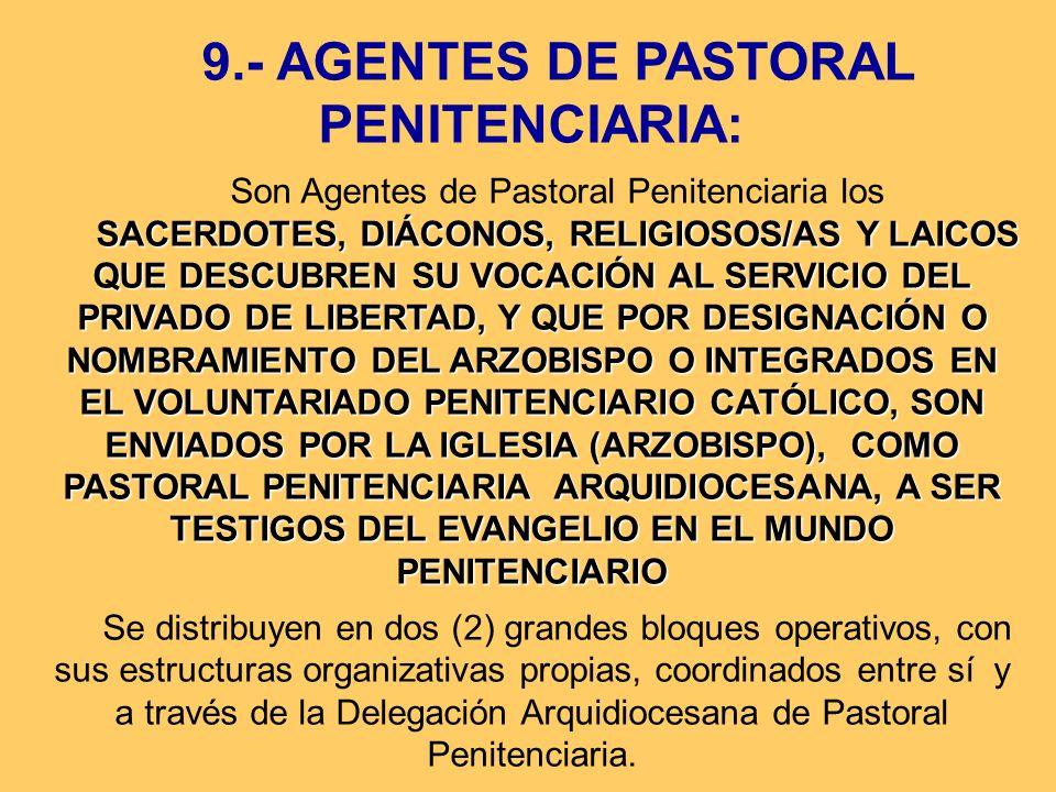 9.- AGENTES DE PASTORAL PENITENCIARIA: