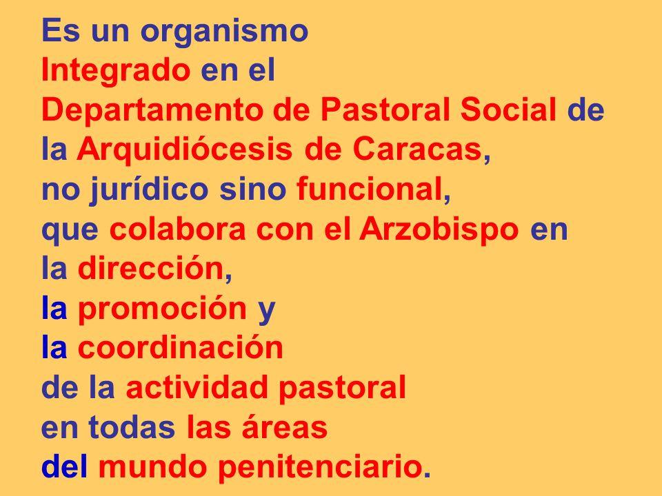Es un organismoIntegrado en el. Departamento de Pastoral Social de la Arquidiócesis de Caracas, no jurídico sino funcional,