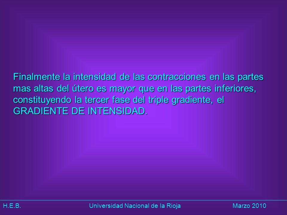Finalmente la intensidad de las contracciones en las partes mas altas del útero es mayor que en las partes inferiores, constituyendo la tercer fase del triple gradiente, el GRADIENTE DE INTENSIDAD.